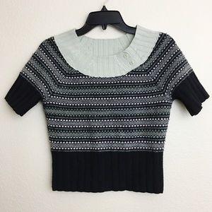 Anthropologie Cartonnier Crop Nordic Sweater
